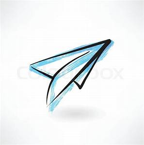 Paper airplane grunge icon   Stock Vector   Colourbox