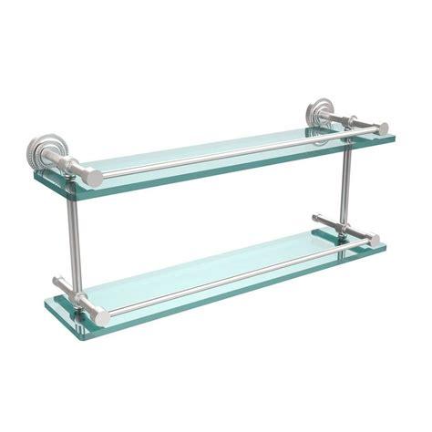 allied brass dottingham 22 in l 8 in h 5 in w 2 tier clear glass bathroom shelf with