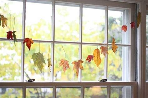 window decorations for fall 22 creative ways to add colorful autumn leaves to fall home decorating