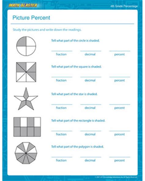 picture percent percentage worksheet for 4th grade