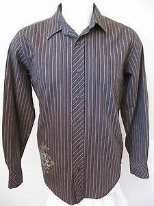 mens long sleeve casual shirt m brown stripe modern fit