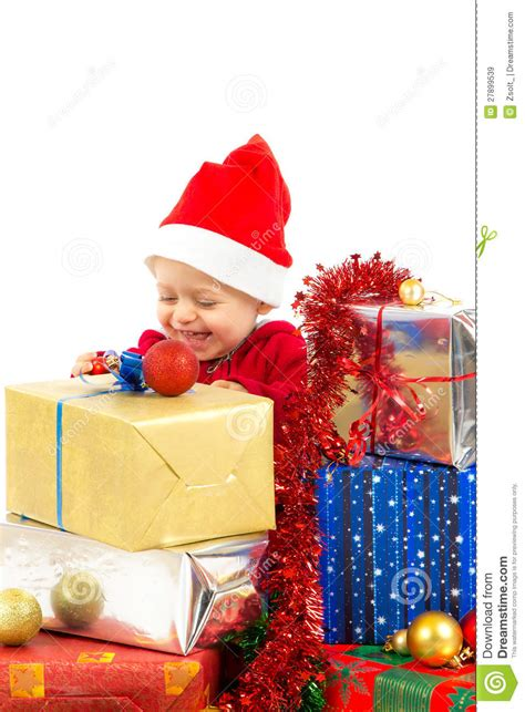 baby with christmas gifts stock image image of bright