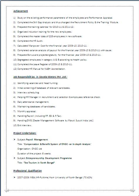 resume co mba hr with 4 years experience beautiful