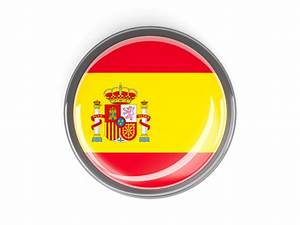 Metal framed round button. Illustration of flag of Spain