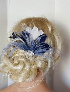 Navy Blue Hair Fascinator Feather Accessories Great