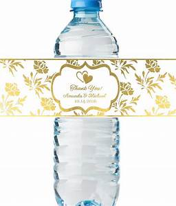 personalized wedding water bottle labels real metallic With custom printed water bottle labels
