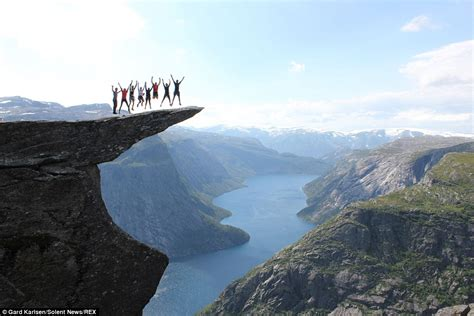Thrill Seekers Jump On Trolltunga Clifftop 2300ft Above
