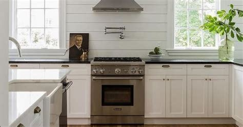 kitchen made cabinets shiplap walls white cabinetry honed absolute black 2251