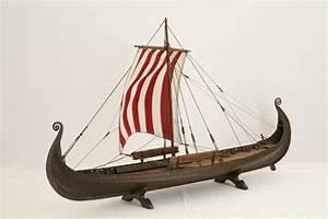 Photos of model of Oseberg Ship, a Viking ship of 820 A.D.