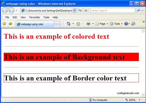 html text color html tutorials coding manuals