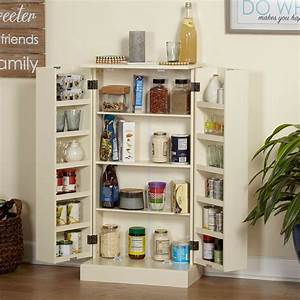 White Kitchen Pantry Cupboard Storage Cabinet Tall ...
