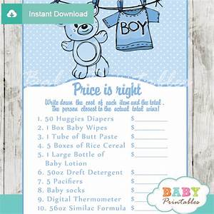 free printable price is right baby shower game template - blue clothesline baby shower games bundle d151