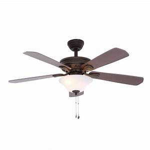 Hampton bay wellston in led indoor oil rubbed bronze ceiling fan with light kit the