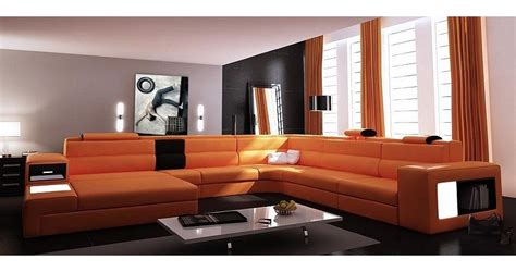 canap cuir orange deco in canape panoramique cuir angle gauche