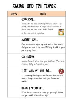 large list of show and tell ideas for letter of the week show and tell topics by year one with mrs m tpt 93761