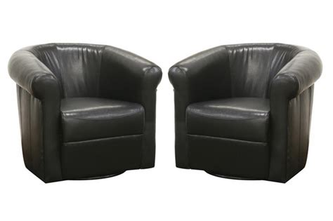 room vault black brown faux leather club chair with 360