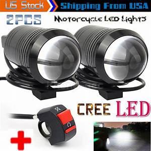 2pcs Cree U1 Lens Led Motorcycle Headlight Driving Fog