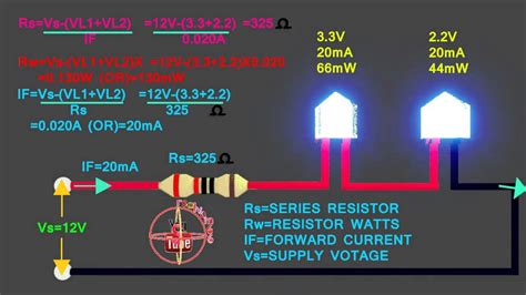 led   connect  circuit   calculate led series resistor wattsvoltamps