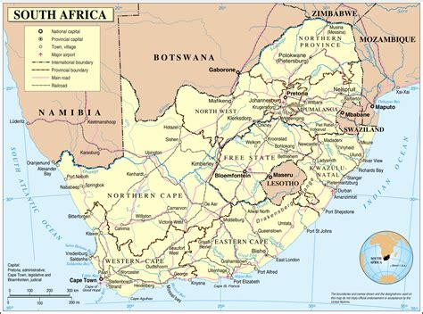 Detailed Political Map Of South Africa With Cities