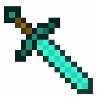 Sword Minecraft Diamond Template Background Craft Drawing