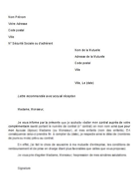 Lettre De Résiliation Assurance Vie by Mod 232 Le De Lettre R 233 Siliation D Une Mutuelle La Lettre