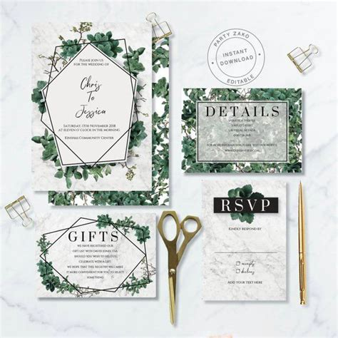 greenery wedding invitation botanical foliage leaves