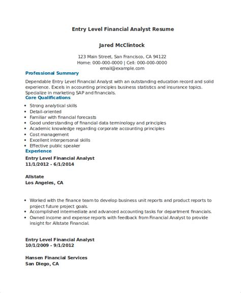 Finance Resume Entry Level Exles by Financial Analyst Resume 10 Pdf Word Documents Free Premium Templates