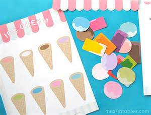 Printable File Folder Game Ice Cream