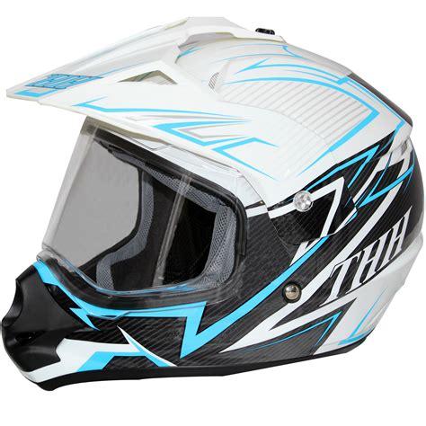 white motocross helmets thh tx 13 1 white blue dual sport helmet motorcycle mx