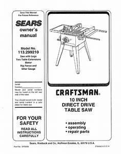 Craftsman 113 299210 User Manual
