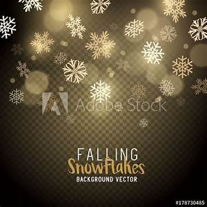 Gold christmas winter snowflakes background. Vector ...
