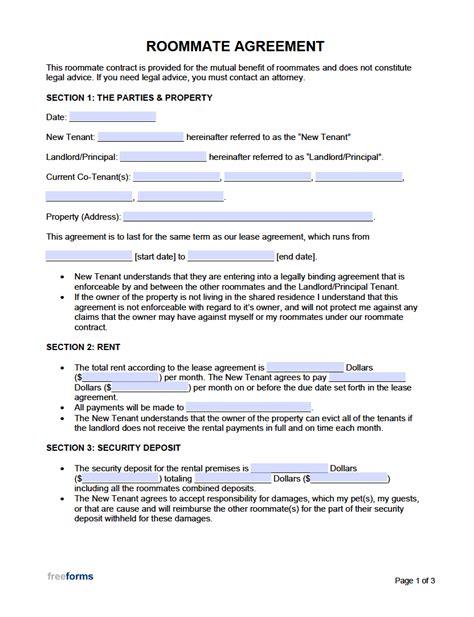 roommate room rental agreement template  word