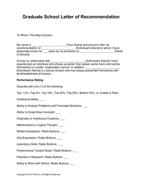 letters of recommendation for grad school free graduate school letter of recommendation template