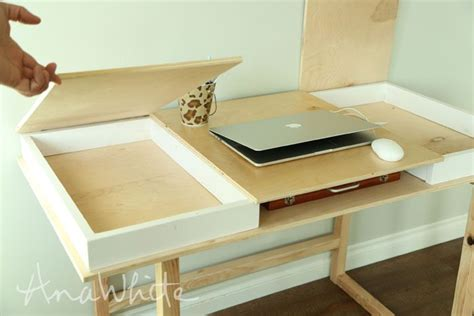 build your own desk plans ana white build a desktop with storage compartments