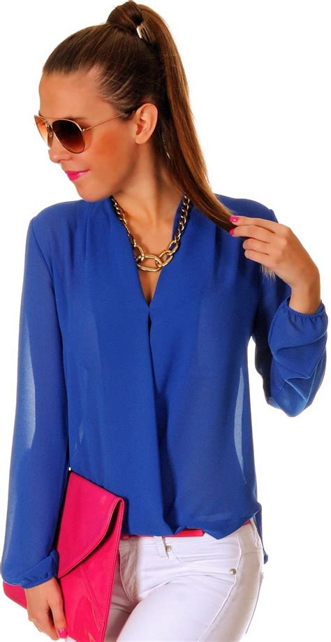 royal blue blouse   Womens Clothing   Blue top outfit ...