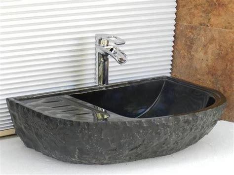 chiseled travertine vessel sink rustic