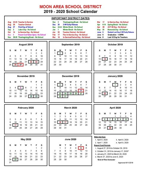 school calendar approved moon area high school