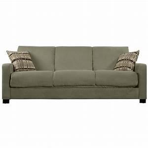 Portfolio trace convert a couch sage grey microfiber futon for Sofa couch konfigurator