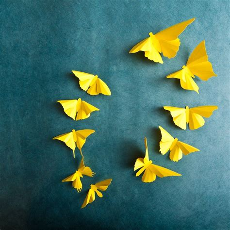 I hope you have fun making this and remember to vote because it means a… 3D Butterfly Wall Art: Lemon Yellow Butterfly Silhouettes ...