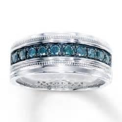 Blue Diamond Men's Wedding Rings