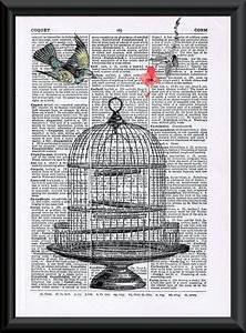 Vintage Bird Cage Book Page Art