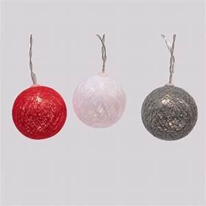 Guirlande Boule Coton : guirlande lumineuse boules de coton rouge blanc chaud eminza ~ Teatrodelosmanantiales.com Idées de Décoration