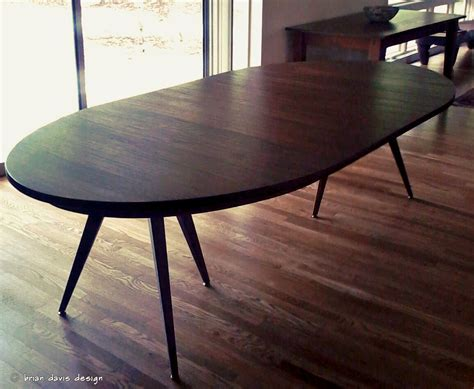 custom solid walnut tripod oval expanding dining table