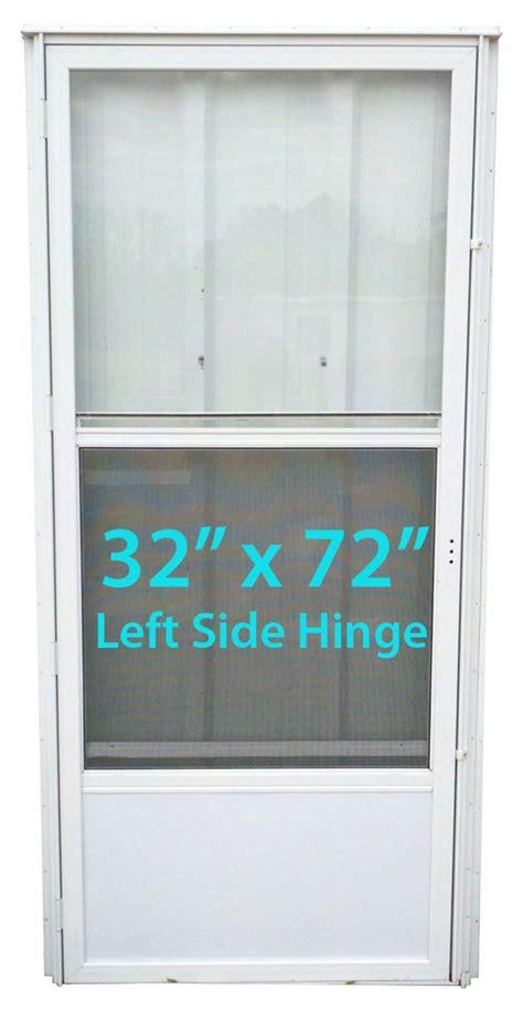 mobile home standard storm door  lh white  screen