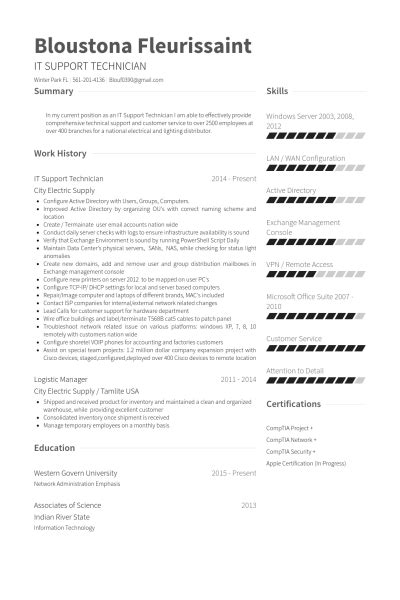 It Support Resume Summary by Outstanding It Support Resume