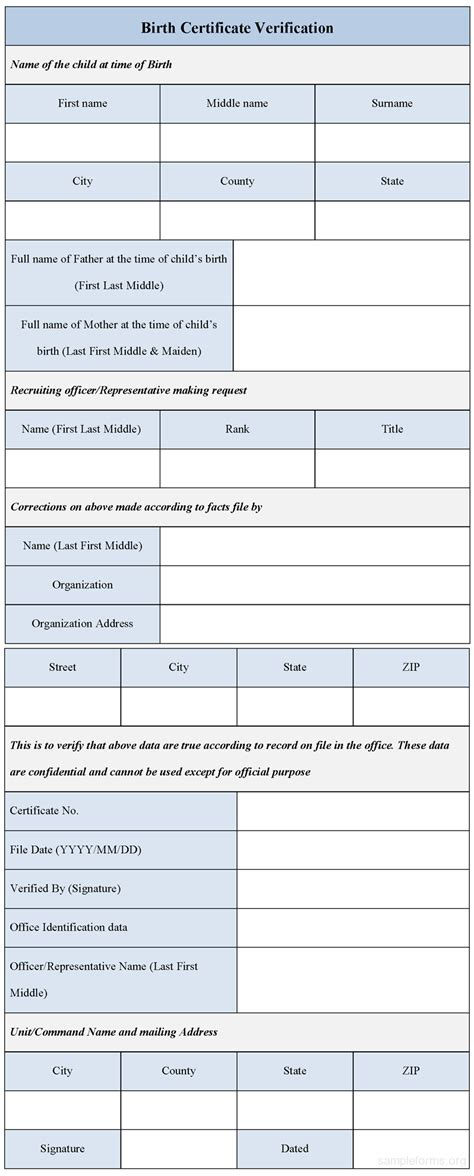 birth certificate verification form sample forms