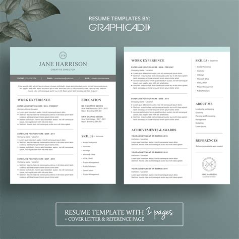 modern  page resume template  cover letter