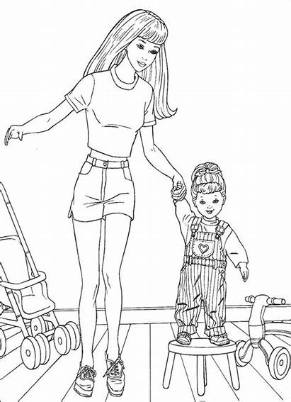 Barbie Coloring Pages Doll Dolls Printable Cartoon