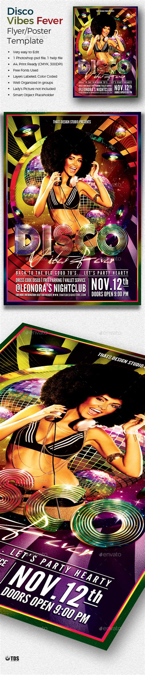 Disco Vibes Fever Flyer Template By Lou606 Graphicriver