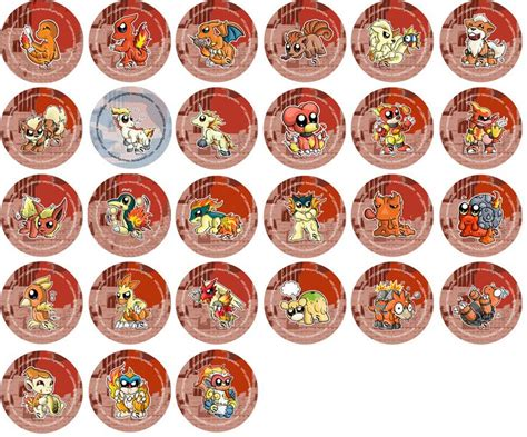 Fire Type Pokemon Chibi Badges By Redpawdesigns On